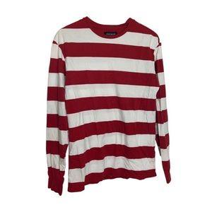 Pacsun S White red stripe where Waldo long sleeve